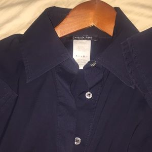 Patrizia Pepe Tops - Navy blue button up cotton blend body suit ITALY